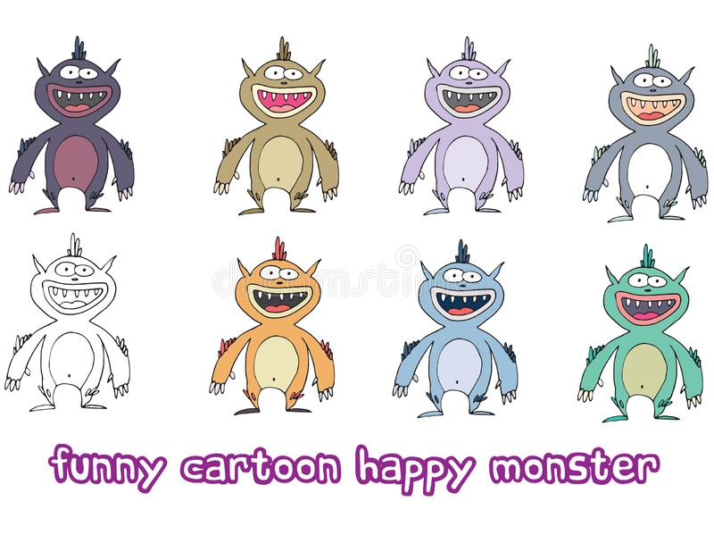 Funny cartoon colored write hand made draw doodle monster aliens happy. Funny cartoon colored write hand made draw doodle monsters aliens happy vector illustration