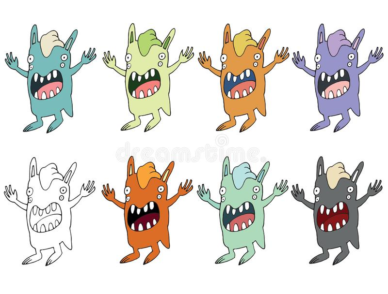 Funny cartoon colored write hand made draw doodle monster aliens rabbit. S vector illustration