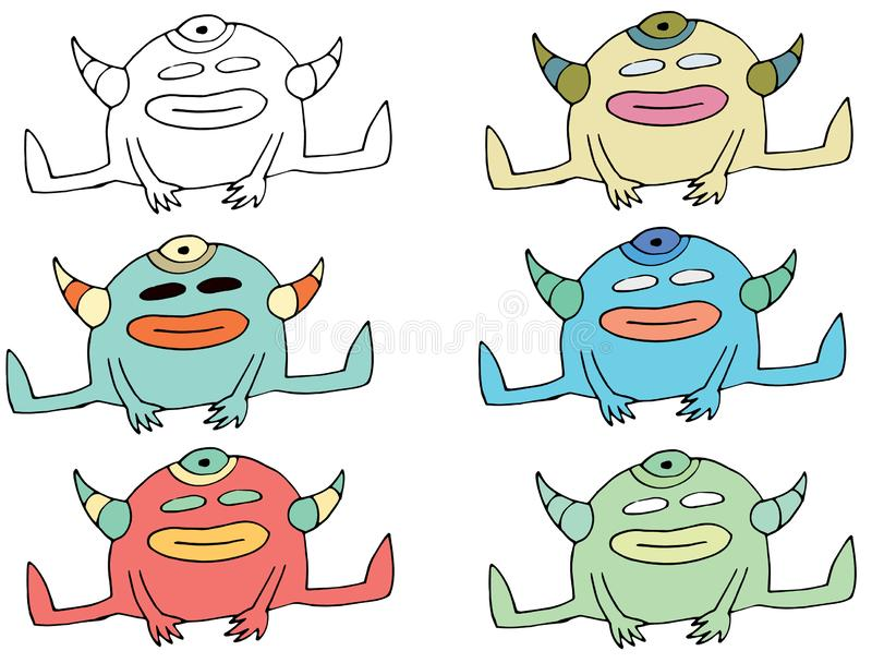 Funny cartoon colored write hand made draw doodle monster aliens sit. Funny cartoon colored write hand made draw doodle monsters aliens sit vector illustration
