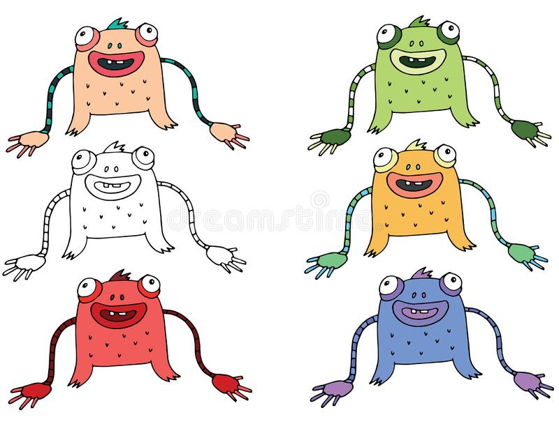 Funny cartoon colored write hand made draw doodle monster aliens snake. S stock illustration