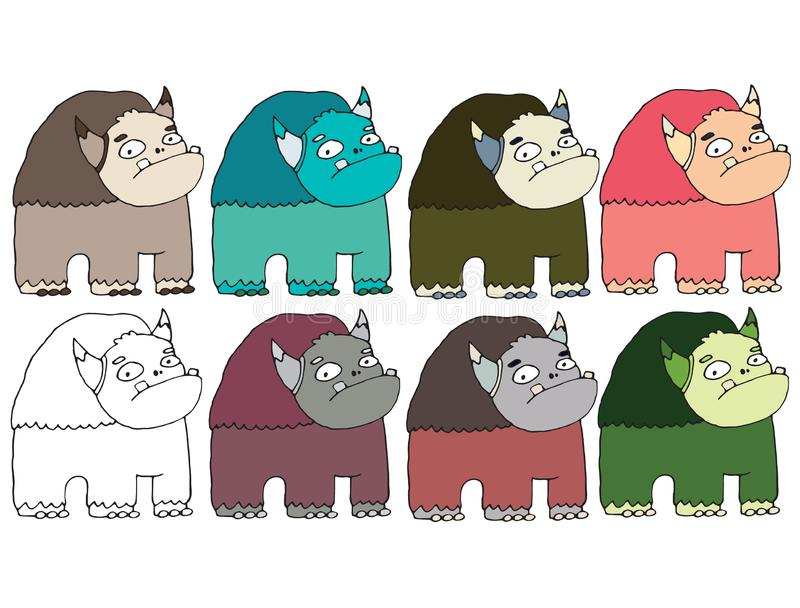 Funny cartoon colored write hand made draw doodle monster aliens buffalo. Funny cartoon colored write hand made draw doodle monsters aliens buffalo stock illustration