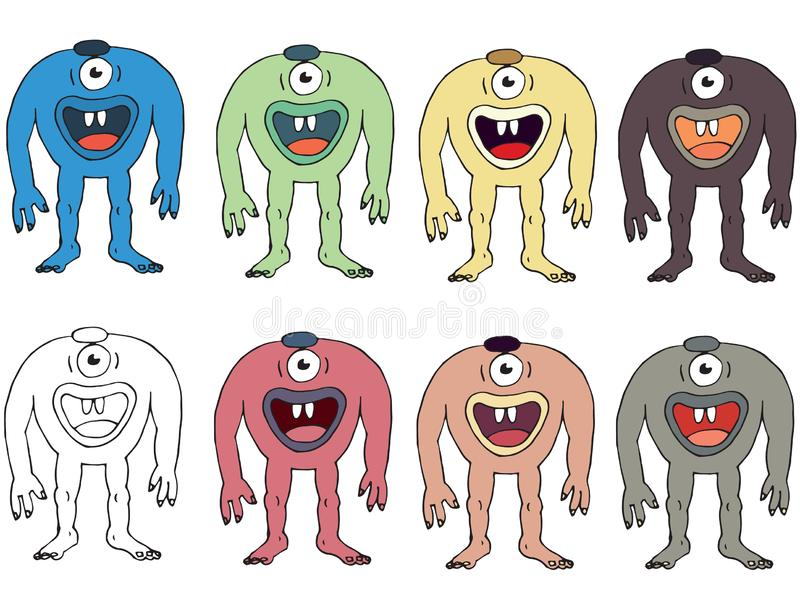 Funny cartoon colored write hand made draw doodle monster aliens cyclops. Funny cartoon colored write hand made draw doodle monsters aliens cyclops royalty free illustration