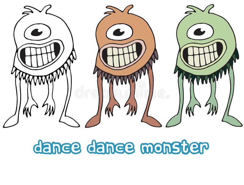 Funny cartoon colored write hand made draw doodle monster aliens dance cyclops. Funny cartoon colored write hand made draw doodle monsters aliens dance cyclops royalty free illustration