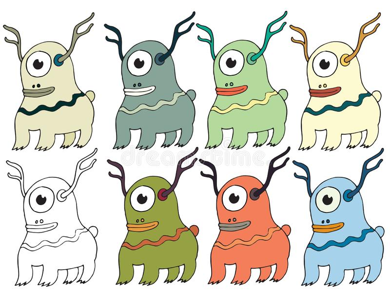 Funny cartoon colored write hand made draw doodle monster aliens deers. Funny cartoon colored write hand made draw doodle monsters aliens deer vector illustration