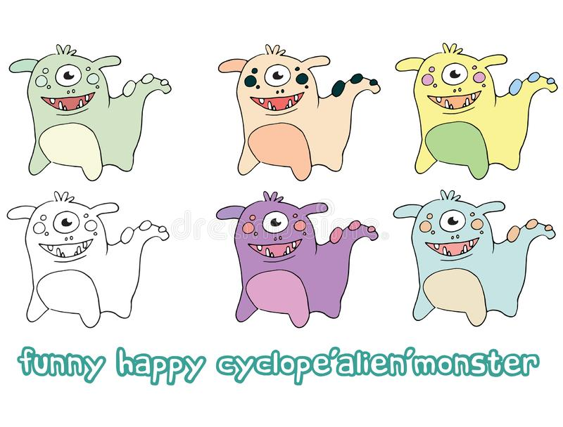 Funny cartoon colored write hand made draw doodle monster aliens dogs cyclops. Funny cartoon colored write hand made draw doodle monsters aliens dogs cyclops royalty free illustration