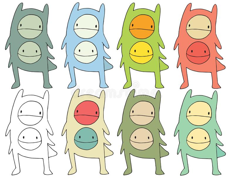 Funny cartoon colored write hand made draw doodle monster aliens. Funny cartoon colored write hand made draw doodle monsters aliens vector illustration