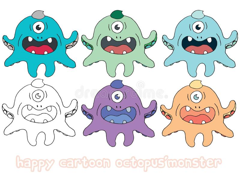 Funny cartoon colored write hand made draw doodle monster aliens octopus. Funny cartoon colored write hand made draw doodle monsters aliens octopus royalty free illustration