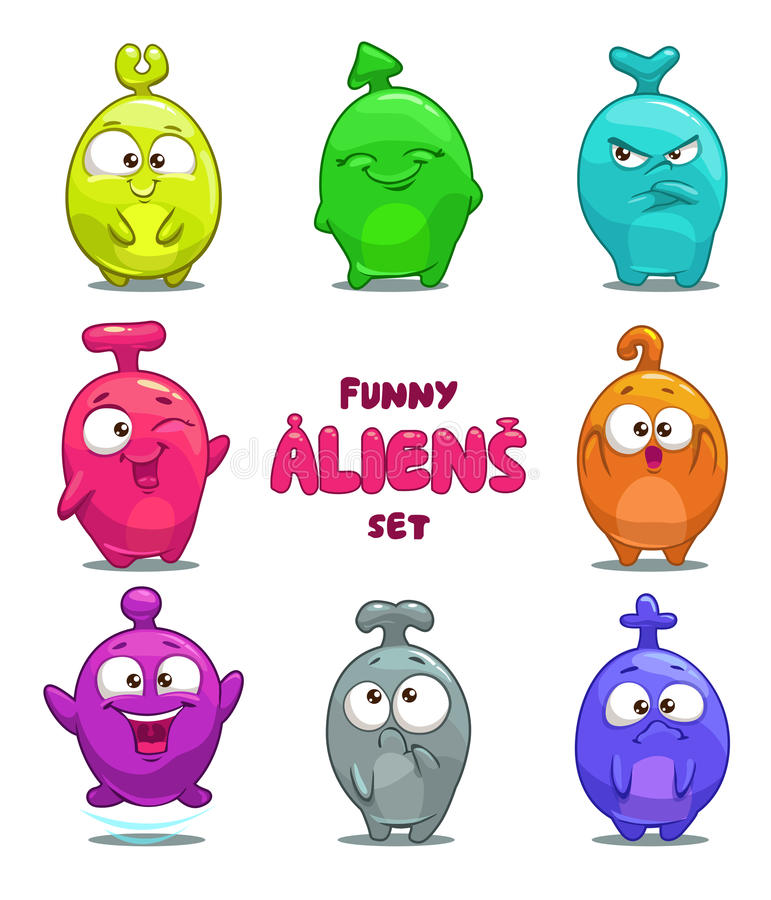 Funny cartoon colorful aliens. Isolated characters stock illustration