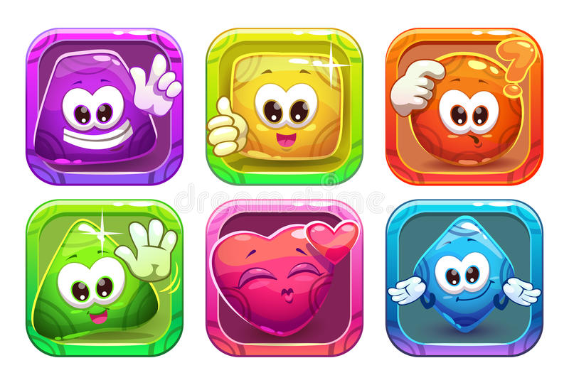 Funny cartoon colorful glossy shape characters stock illustration