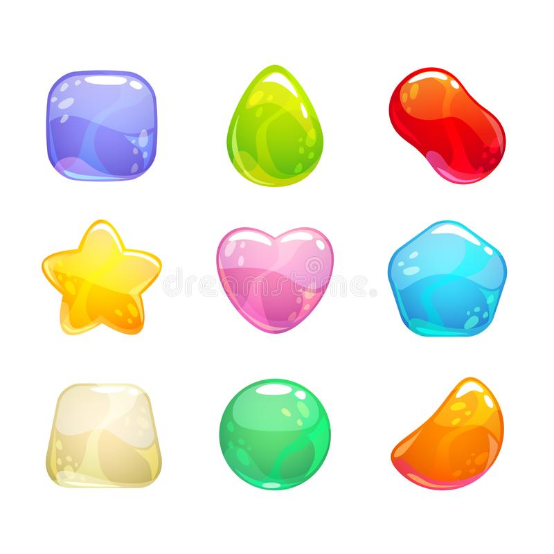 Funny cartoon colorful jelly candies set. Vector sweet icons for game or web design. Isolated on white background royalty free illustration