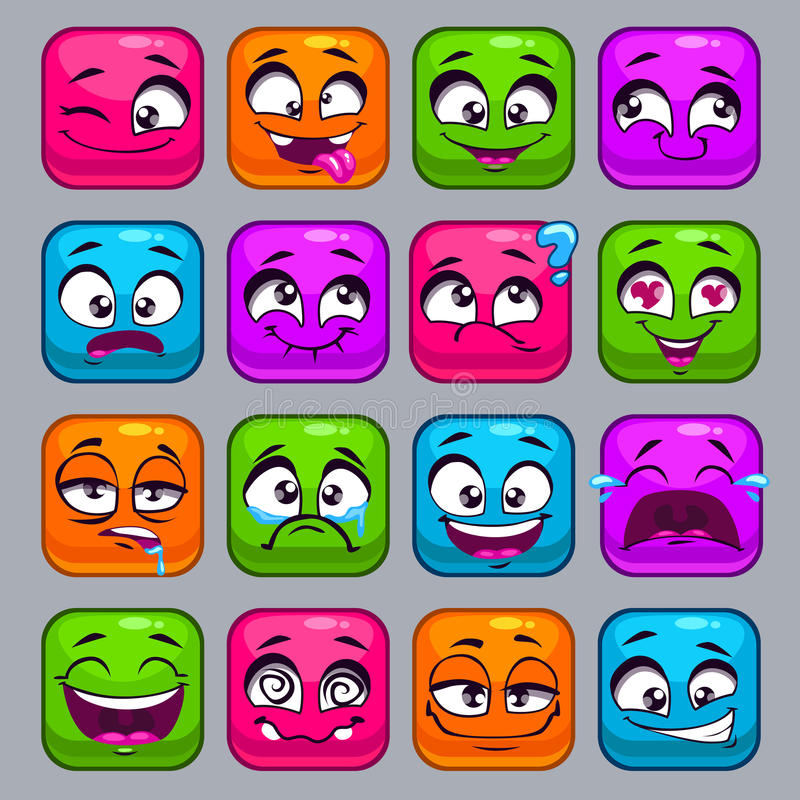 Funny cartoon colorful square faces vector illustration