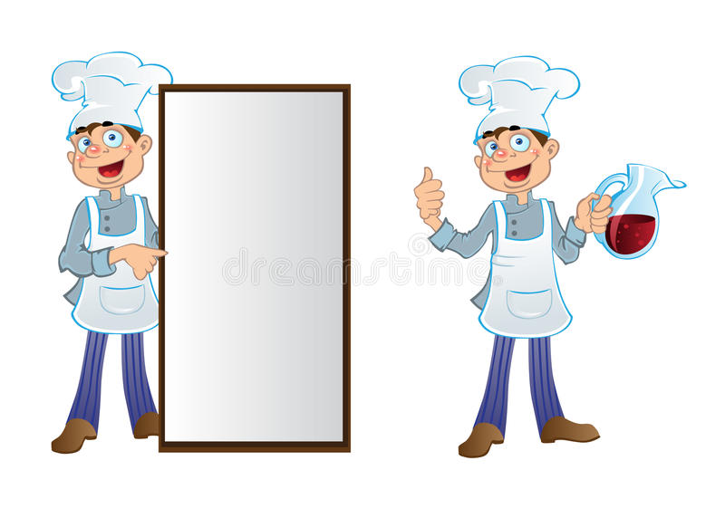 Funny cartoon cook with text field and pitcher royalty free stock image