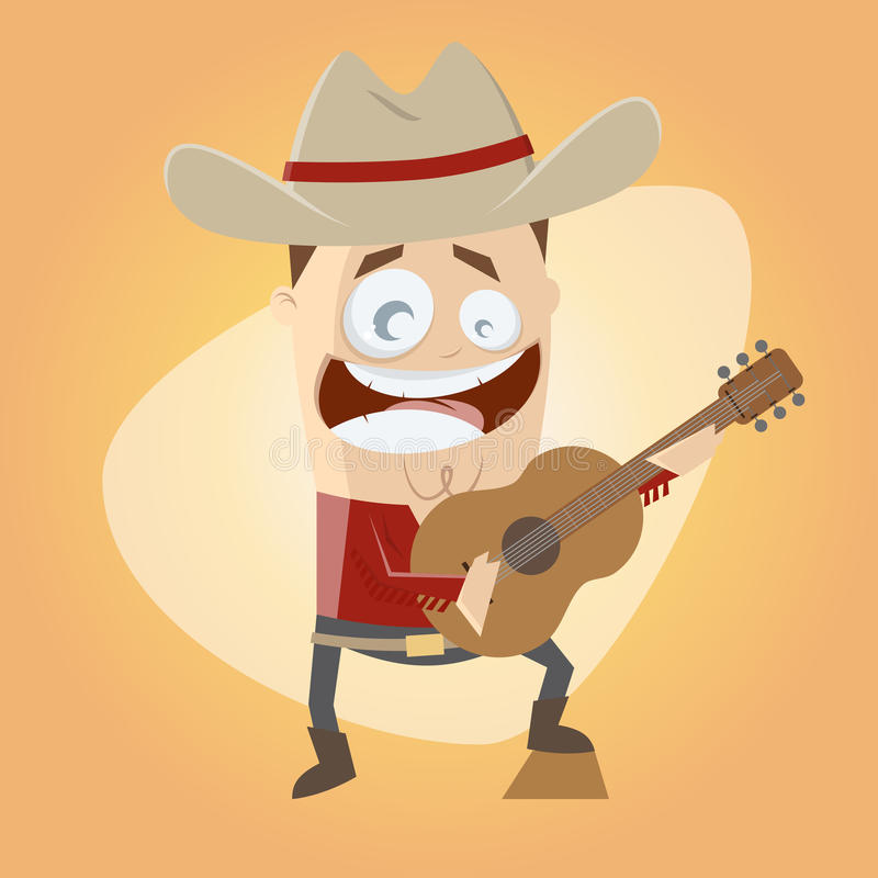 Funny cartoon country singer vector illustration
