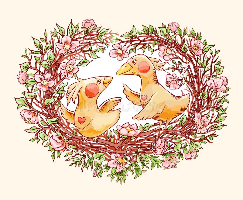 Funny cartoon couple of birds on ornate branch of flowering sakura. Vector hand-drawn illustration. Valentine`s day decorative vintage congratulation. Cute royalty free illustration