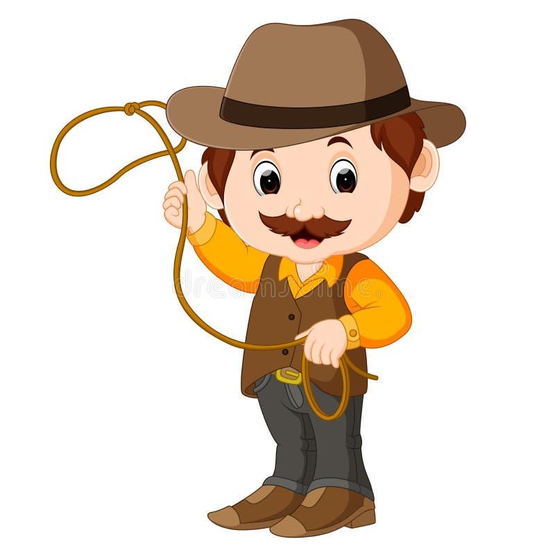 Funny cartoon cowboy. Illustration of Funny cartoon cowboy stock illustration