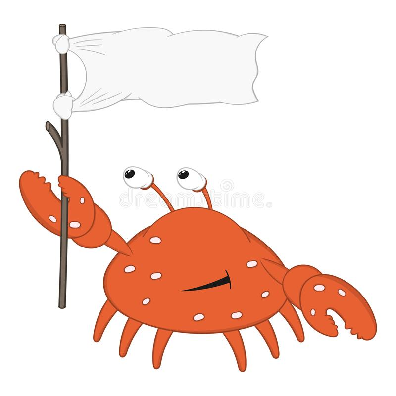 Funny cartoon crab with bulging eyes and large claws holds a white flag and smiles.  stock illustration