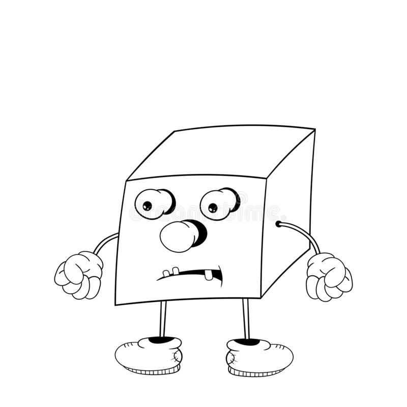 Funny cartoon cube with eyes, arms and legs, demonstrates the emotions of anger and clenches fists. Black and white coloring stock illustration
