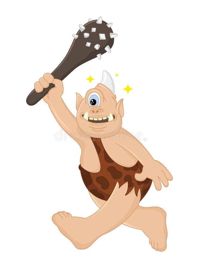 Funny cartoon vector Cyclops caveman with a cudgel hunts. Ancient mythical creature. Cute troll. Design for print, emblem, t-shirt royalty free illustration
