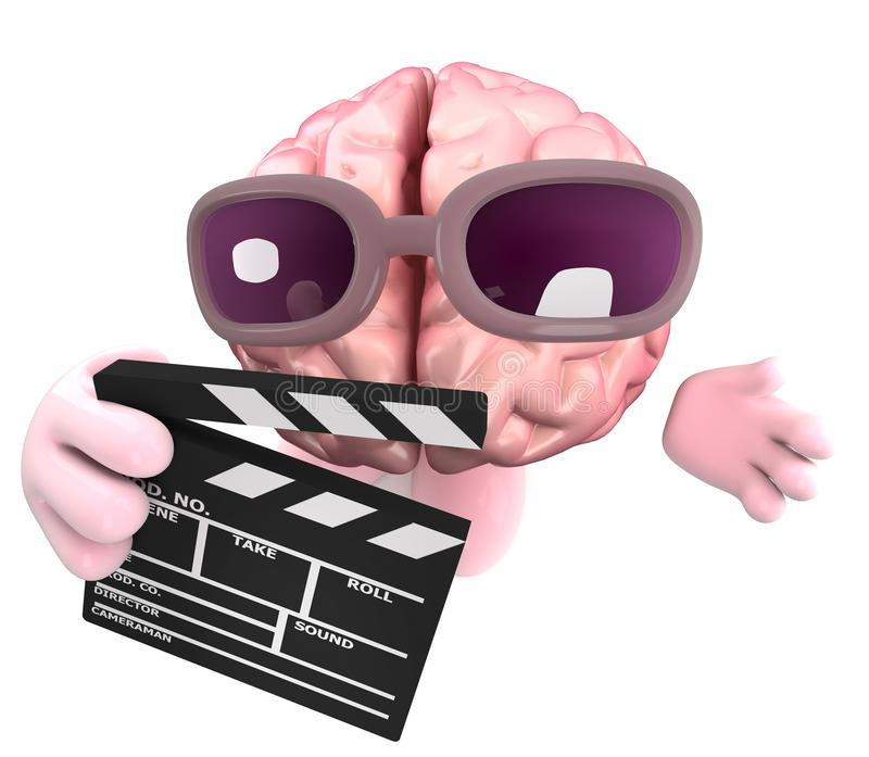 Funny cartoon 3d human brain character holding a movie makers clapperboard vector illustration