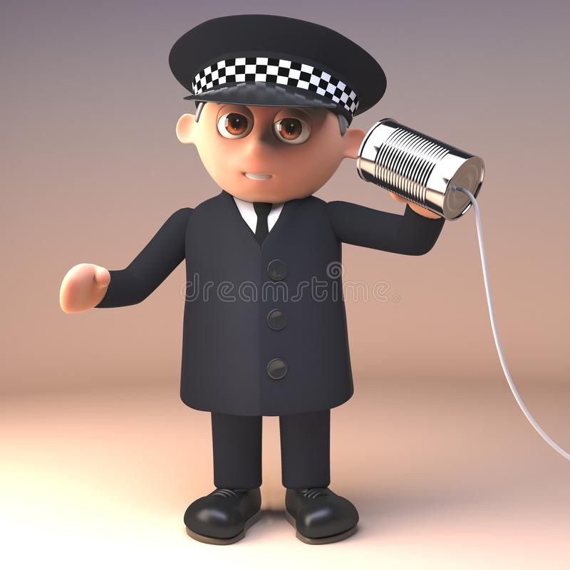 Funny cartoon 3d policeman character in police uniform using a tin can and string to communicate, 3d illustration. Render vector illustration