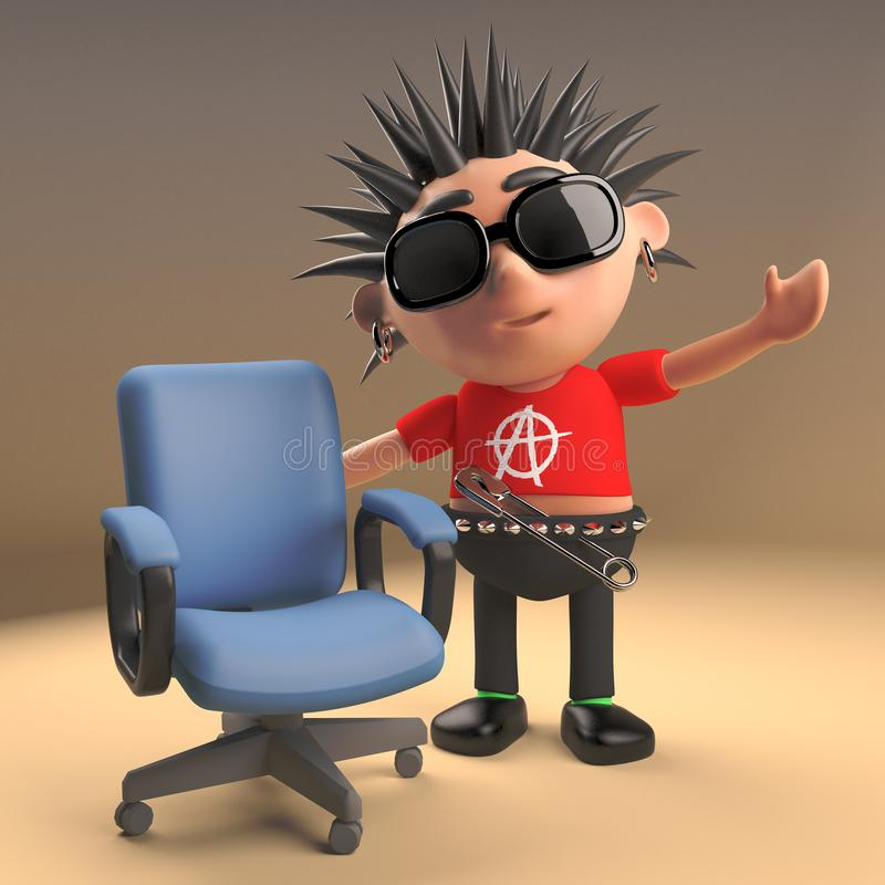 Funny cartoon 3d punk rocker character with spikey hair standing next to an empty chair, 3d illustration. Render royalty free illustration