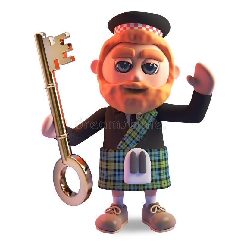 Funny cartoon 3d Scottish man with red beard and tartan kilt holding a gold key, 3d illustration. Render vector illustration