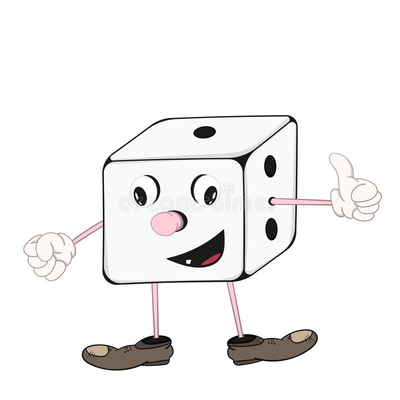 Funny cartoon dice with eyes, hands and feet in shoes smiling and showing hand sign cool. stock illustration