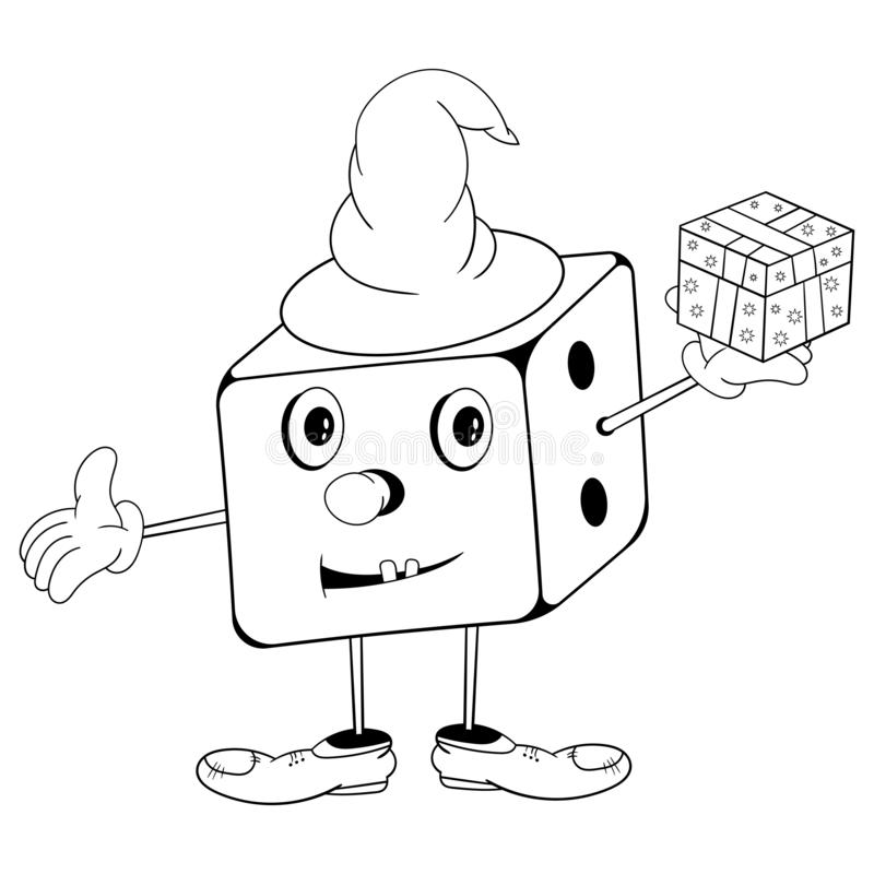 Funny cartoon dice in wizard hat with eyes, hands and feet holding a gift box in his hand and smiling. Black and white coloring stock illustration