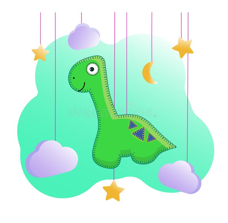 Funny cartoon dinosaur with a long neck and a pattern on the back. In the style of felt toys stock illustration
