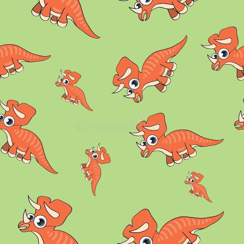 Funny cartoon dinosaur seamless pattern stock illustration
