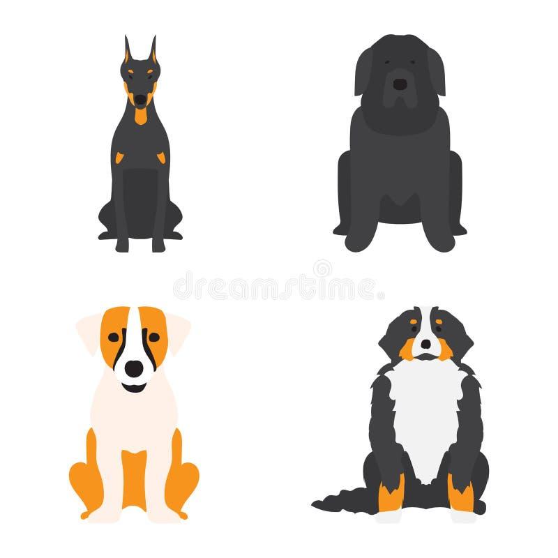 Funny cartoon dog character bread cartoon puppy friendly adorable canine vector illustration. stock illustration