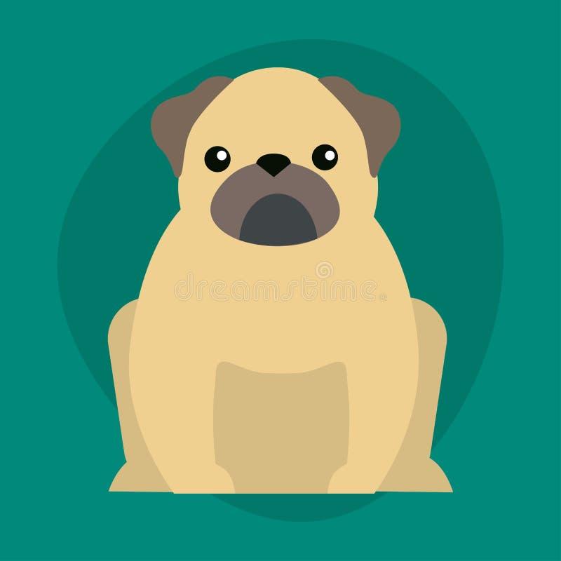 Funny cartoon dog character bread illustration in cartoon style happy puppy and bulldog isolated friendly mammal vector royalty free illustration
