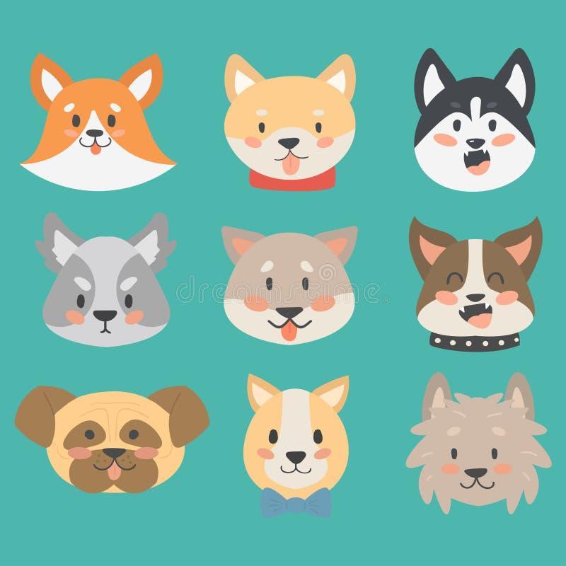 Funny cartoon dog character heads bread cartoon puppy friendly adorable canine vector illustration. royalty free illustration