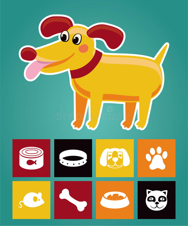Download Funny Cartoon Dog And  Icons Stock Vector - Image: 25575698