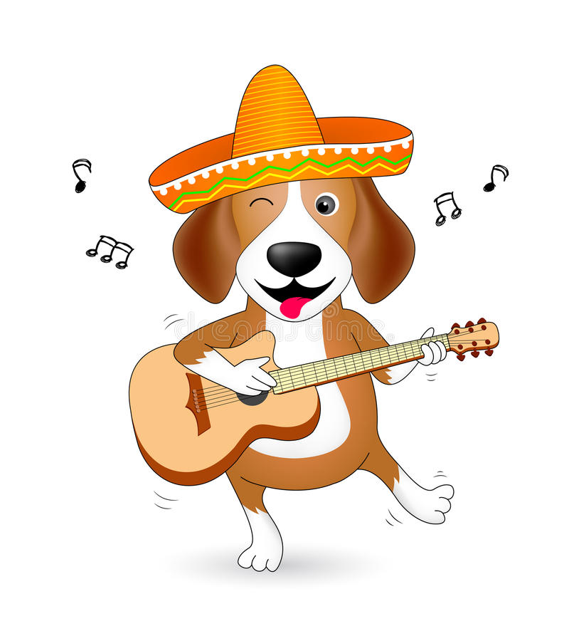 Funny cartoon dogs characters. Cute Beagle with Mexican hat playing guitar and dancing. stock illustration