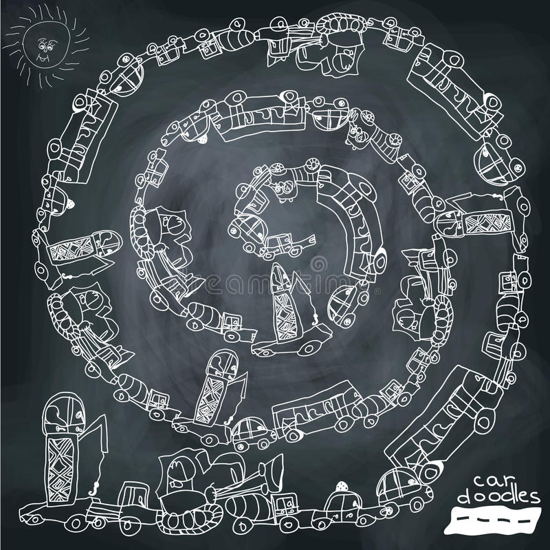 Funny cartoon Doodle spiral composition.Child's hand draw cars. vector illustration