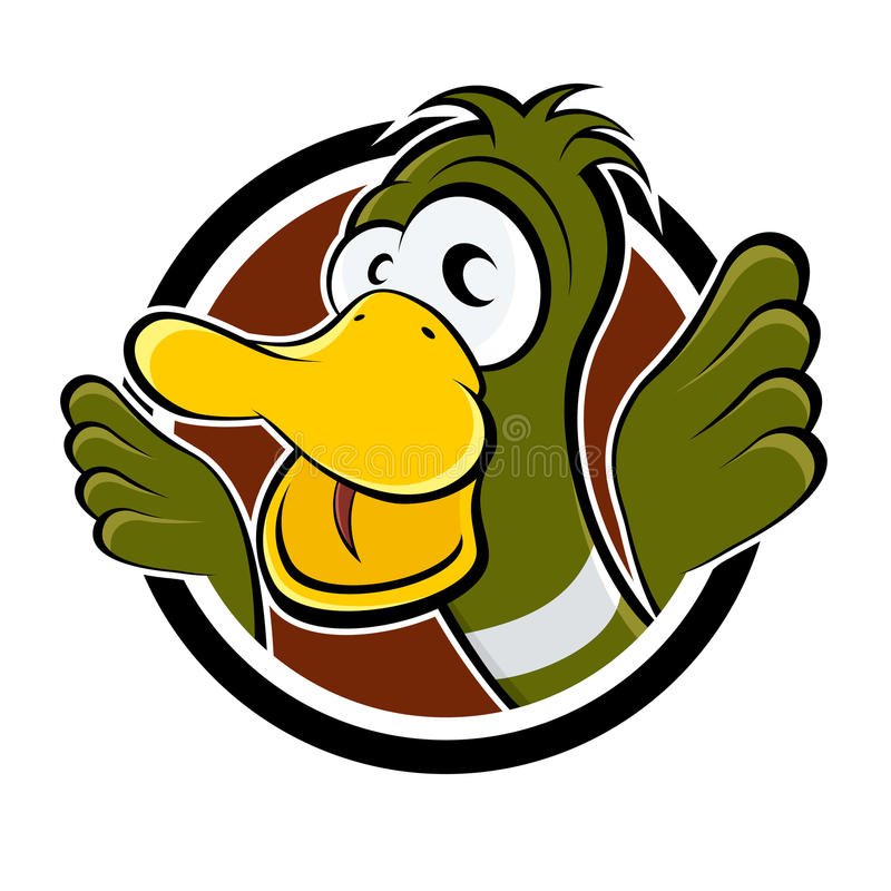 Funny cartoon duck royalty free illustration