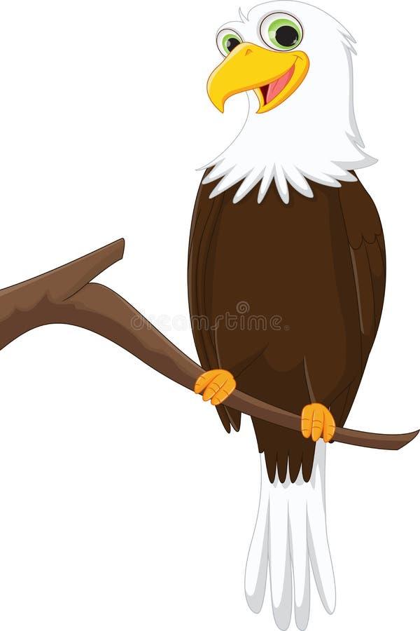 Funny cartoon eagle on a tree branch royalty free illustration