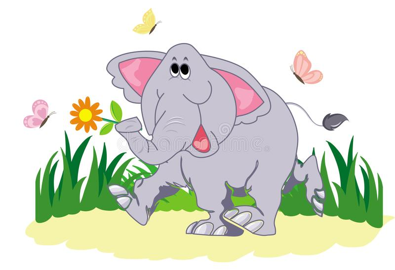 Funny cartoon elephant with butterfly on a white background. Funny cartoon elephant with butterfly. The elephant is walking along the lawn. Funny elephant and stock illustration
