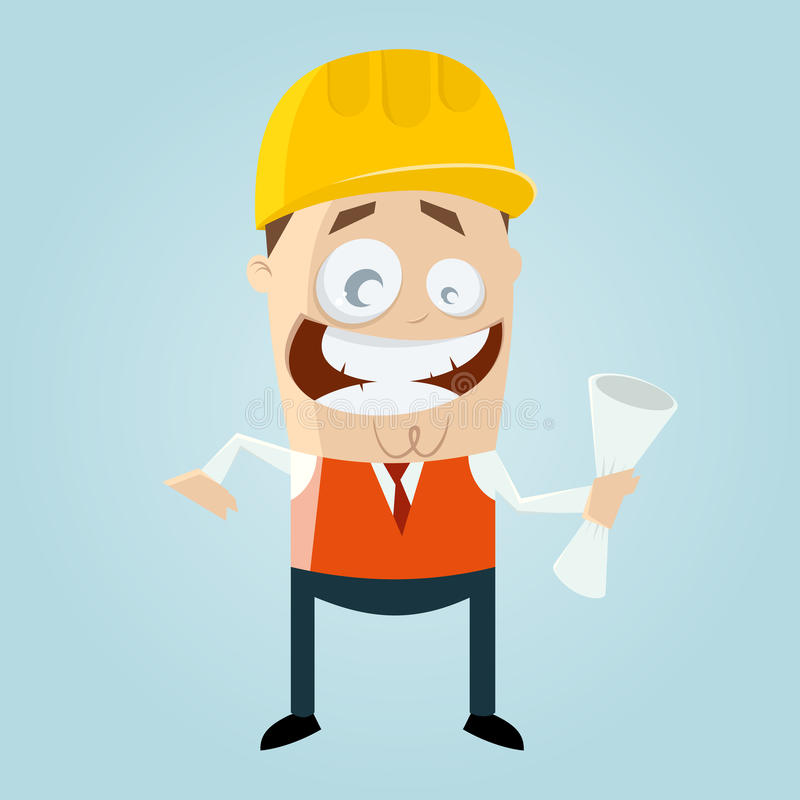 Funny cartoon engineer stock illustration