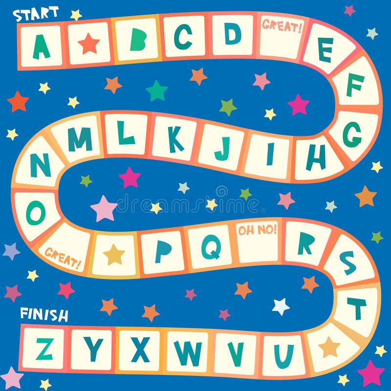 Funny cartoon English alphabet game for Preschool Children, white orange squares on blue background. Vector stock illustration