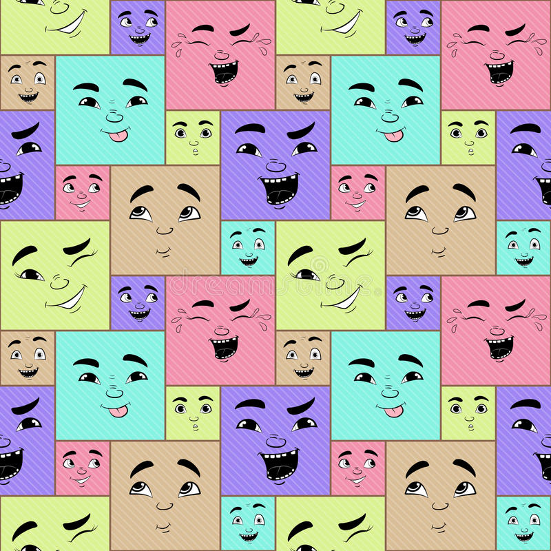 Funny cartoon facial expressions seamless pattern royalty free illustration
