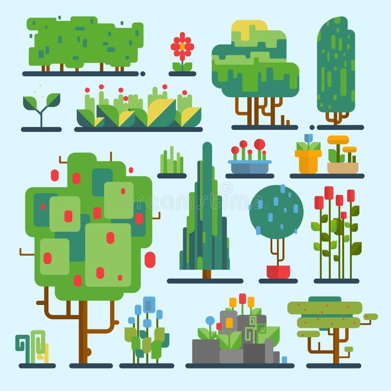 Funny cartoon fantasy shape tree set vector nature elements enviroment wood graphic illustration. Funny cartoon fantasy shape tree set vector nature elements stock illustration