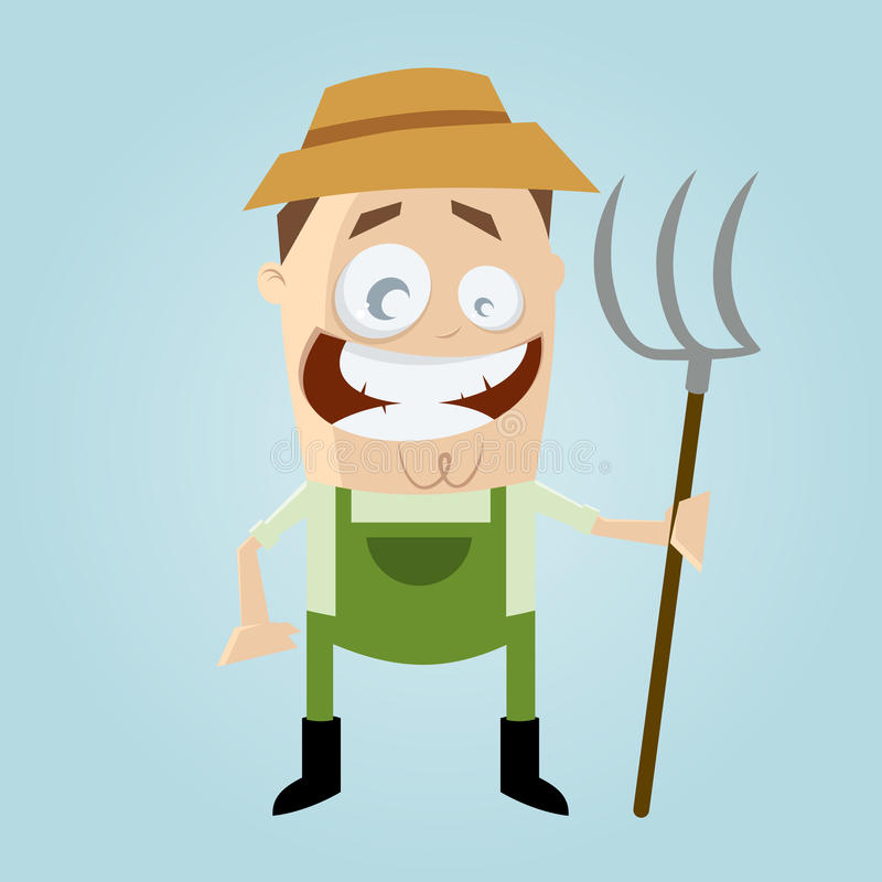 Funny cartoon farmer royalty free illustration