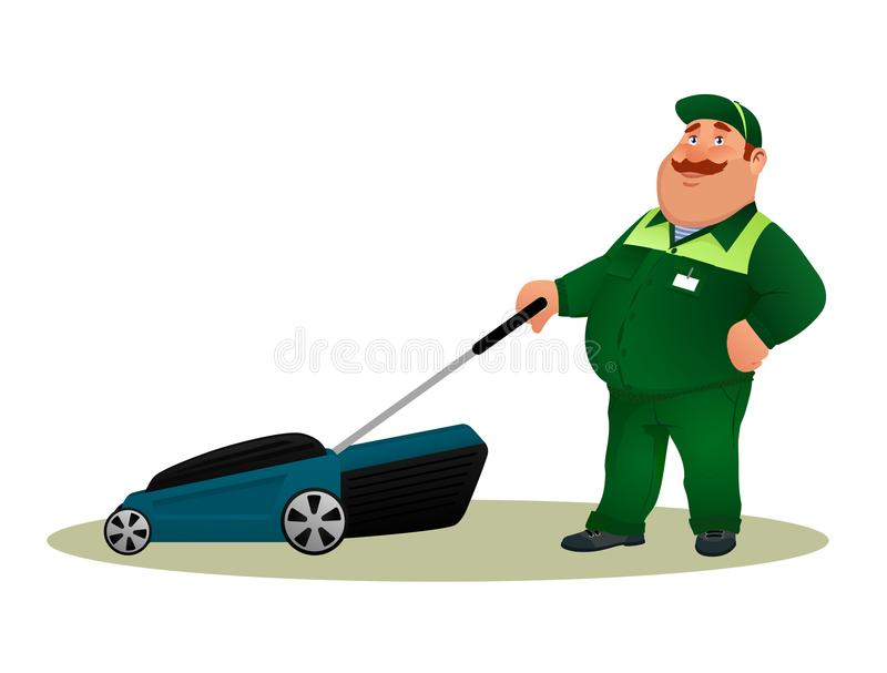 Funny cartoon farmer with lawn mower. stock illustration