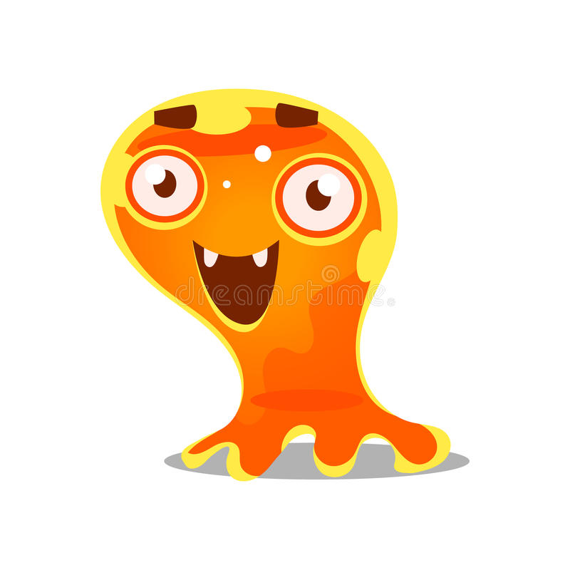 Funny cartoon friendly slimy monster. Cute bright jelly character vector Illustration royalty free illustration
