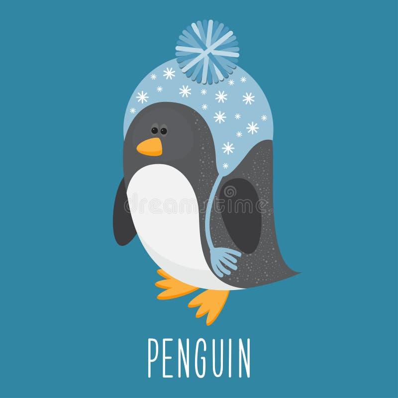 Funny cartoon funny vector penguin. Funny cartoon vector funny penguin in hat vector illustration
