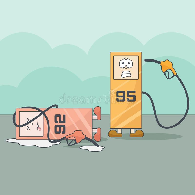 Funny cartoon gas stations with financial problems stock image
