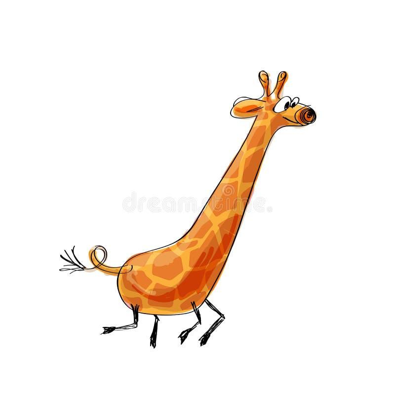 Funny cartoon giraffe stock illustration