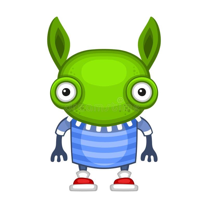 Funny Cartoon Green Alien. Vector vector illustration